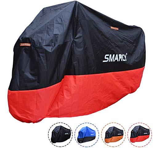 SMARCY® Motorradabdeckplane Motorradgarage Motorradabdeckung Wasserdicht Staubdicht Rot Schwarz XL