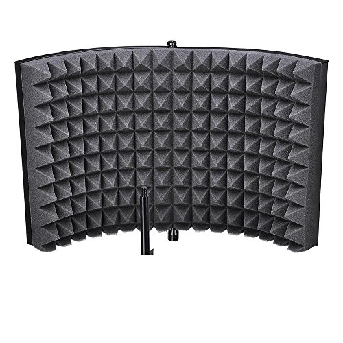 AW Studio Microphone Isolation Shield Acoustic Foam Panel Sound Absorbing Vocal Recording Panel Stand Mount