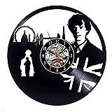xcvbxcvb Gran Detective Reloj de Pared diseño Moderno Detective Tema de la película Etiqueta 3D Reloj de Pared Antiguo Reloj de Pared decoración del hogar