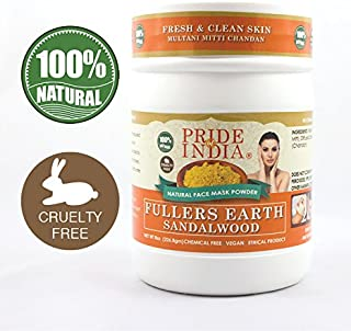 Pride Of India - Fuller's Earth Deep Cleansing Indian Clay Healing Face Mask Powder w/Sandalwood, Half Pound Jar, 100% Natural - BUY ONE GET 50% OFF 2ND UNIT (Mix N Match - Promo APPLIES FOR EVERY 2)