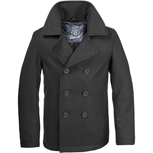 Brandit Herren Pea Coat Jacke, Schwarz (Schwarz 2), XL EU