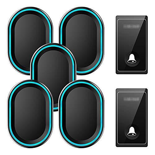 Zelfaangedreven draadloze deurbel, waterdichte draadloze deurbel op afstand 2-knops zender en 5 plug-in ontvangers met 58 beltonen, volume op 4 niveaus en LED-licht,Black