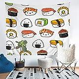 Tapiz de estilo japonés para colgar en la pared, diseño de sushi para niños, niñas y adolescentes