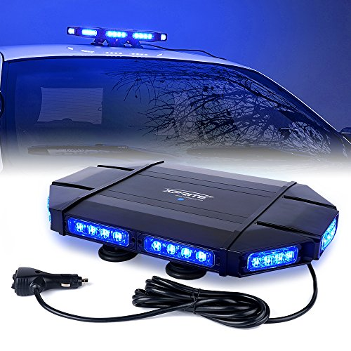 Xprite Black Hawk Mini 18' Professional Blue LED Stealth Low Profile Law Enforcement and Security Magnetic Roof Top Strobe Light Bar
