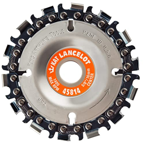"""King Arthur's Tools Patented Lancelot 14 Tooth Circular Saw Blade Carving Disc for Woodworking, Removal, Cutting, and Shaping - 5/8"""" Bore, Fits most Standard 4 1/2"""