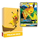 Pokemon Pikachu Deck | Ready to Play 60 Card Starter Deck | Includes Raichu GX | Perfect for Beginners Raichu Theme Deck | with Golden Groundhog Deckbox
