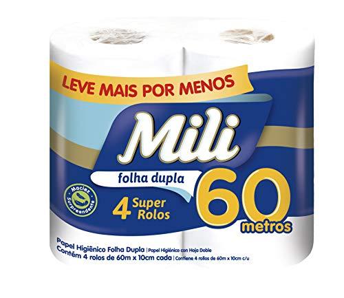 Mili, Papel Higiênico Folha Dupla 4 Rolos, 60 Metros