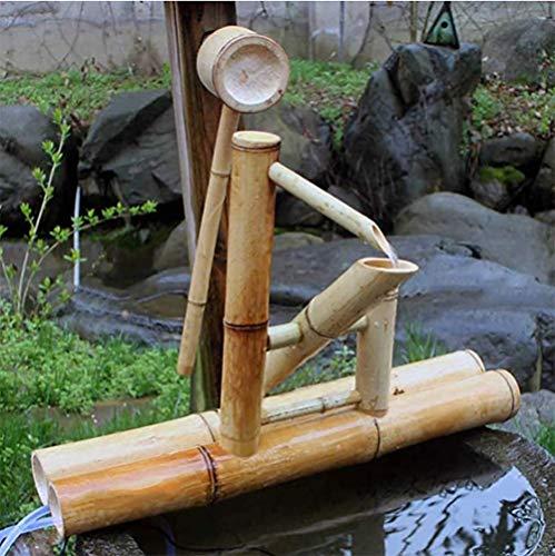 CHHD Zen Gartenwasserbrunnen Bambus Wasserspiel Schaukelpumpe Wasserlandschaft, Japanische Gartendekoration Für Teich Aquarium Innenhof, Japanisches Gartenmerkmal Im Freien