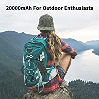 20000mAH Portable Phone Solar Charger, Qi Wireless Solar Power Bank-Rainproof Camping Battery Pack with 3A Fast Charging 4 Outputs LED Flashlight Carabiner Type-C for Mobile Phone iPhone 3