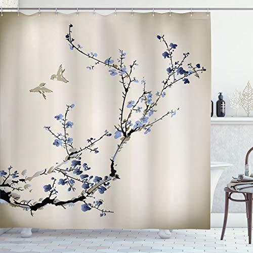Ambesonne Nature Cortina de ducha, diseño de flores y pájaros con ramas de cerezo, efecto de pintura, tela de tela, juego de decoración de baño con ganchos, 190,5 cm de largo, gris y amarillo