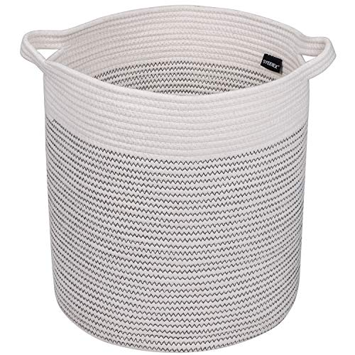 Syeeiex Cotton Rope Laundry Hamper 16'' x 14'' Blanket Basket Living Room Large Storage Baskets for Yoga Mat,Blanket,Towel,Toy,White & Black Ripple.