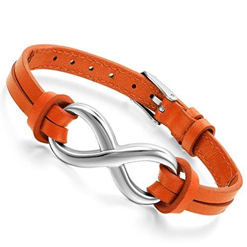 Flongo Lederarmband, Edelstahl Leder Echtleder Armband Armreifen Orange Infinity Unendlichkeit Zeichen Symbol Lieben Charm Charme Elegant Einstellbar Verstellbaren Passen Passend 7~9 Zoll Herren,Damen