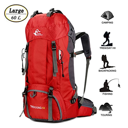 60L Waterproof Lightweight Hiking Backpack with Rain Cover,Outdoor Sport Travel Daypack for Climbing Camping Touring (Red)