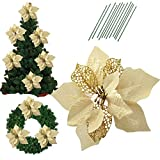 Bigparty 8.6 Inch Glitter Artifical Wedding Christmas Flowers Glitter Poinsettia Christmas Tree Ornaments Christmas Tree Decorations Pack of 12 (Gold)