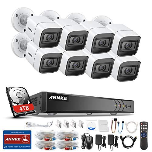 ANNKE E800 8CH 4K 2160P Ultra HD Überwachungskamera System 4TB HDD 8 Kanal 8MP HDMI DVR Recorder mit 8 Wetterfest 8.0Megapixel(4K) Außen Video Kamera Set Bewegungsmelder 30M IR Nachtsicht