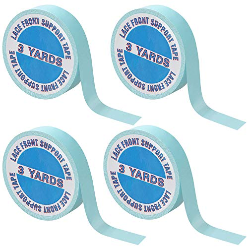 4 Rotoli Nastri Biadesivi di Parrucche Nastri di Supporto per Parrucche Fronte di Pizzo 12 Cantieri Nastri Blu di Toupet Estensioni dei Capelli e Posticci