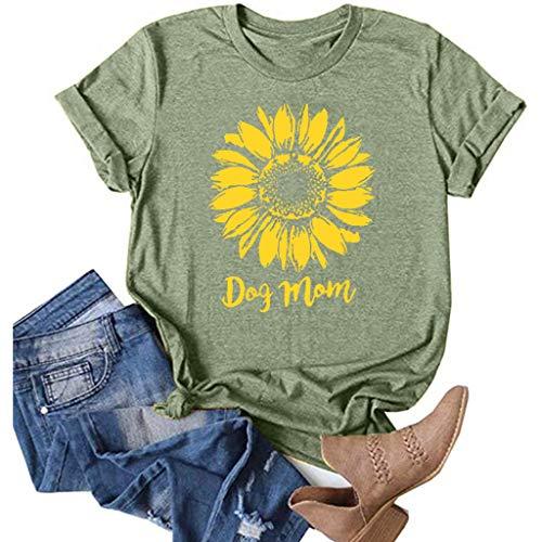 Womens Sunflower Print Short Sleeve T-Shirt Dog MOM Shirt Casual Graphics Tees Summer Teen Girls Top Pullover Tops