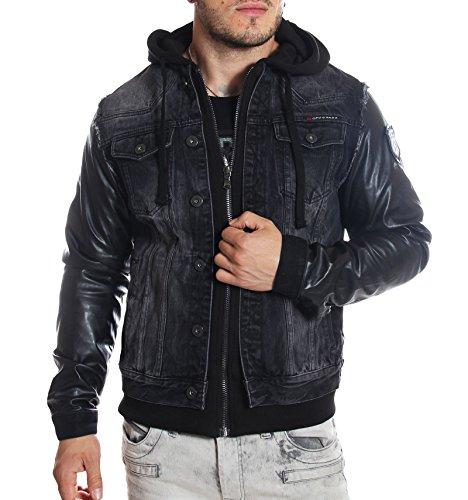 Cipo and Baxx - Veste en jeans noire doublée simili-cuir - S