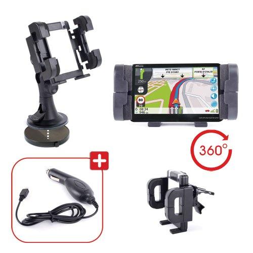 DURAGADGET Fixation Support Voiture Rotatif pour Tableau de Bord, Grille d'aération et Pare-Brise, Compatible avec GPS Takara GP67 Europe 7\