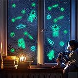 CN-Porter 暗闇で光る天井または壁用ステッカー 宇宙飛行士/エイリアン/ロケット/UFOウォールデカールステッカー 部屋装飾キット 子供部屋 寝室 男の子 女の子の部屋 装飾