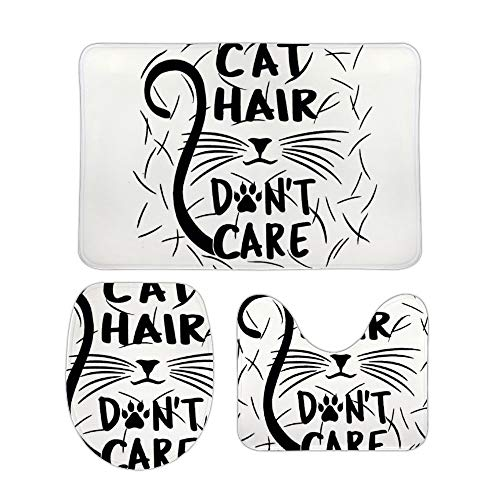 Yilooom Cat Hair Don't Care 3-Piece Set of Non Slip Bath Rugs Including Bathroom Mat Contour Mat Toilet Lid Cover Home Doormat 20 X 32 inch