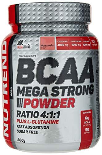 Nutrend BCAA MEGA STRONG POWDER PLUS L-GLUTAMINE 500g Watermelon Flavor amino acids L-leucine, L-isoleucine and L-valine 4:1:1 ratio