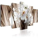 decomonkey Bilder Blumen Lilien 200x100 cm XXL 5 Teilig