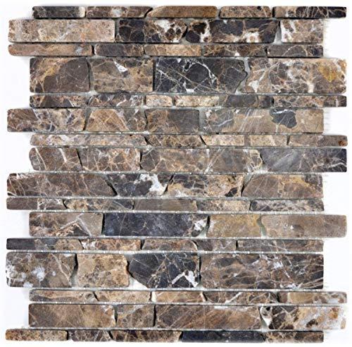 Mosaik Fliese Marmor Naturstein beige Brickmosaik Castanao MOS40-13-285