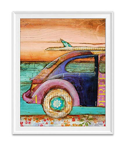 The Perfect Day, Danny Phillips Art Print, Unframed, Classic Antique Vintage Car Surfboard Ocean Beach Inspired Funky Retro Vintage Mixed Media Art Wall and Home Decor Poster, 8x10 Inches