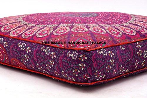 Großes Bodenkissen, Kissenbezug im Mandala-Pfau-Design, indisches-osmanisches Design, quadratischer Bezug für das Sofa, Meditation, Kissenüberzug