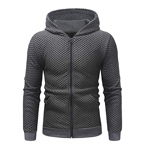 HJHK Men's Hoodie Sweat Jacket Full-Zip Slim fit Long-Sleeve Zipper Sweatshirt Modern Casual Men's Coat with Pocket Checkered Classic Elegant Solid Color Warm Cardigan Outwear XL Dark Gray