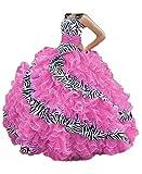 Ruffles Organza Quinceanera Dress Strapless Zebra Print Prom Ball Gown Pink 2