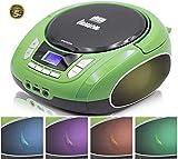 Lauson NXT964 Tragbarer CD-Player, LED-Discolichter, CD-Radio, Boombox, CD Player für Kinder, kinderradio mit cd und USB, Stereoanlage, LCD-Display, Netz & Batterie, Grün
