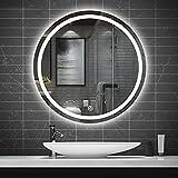 YZJJ Espejo de Baño Redondo con Luz LED Espejo Circular de Pared Espejo de Maquillaje retroiluminado con Luces, Botón...