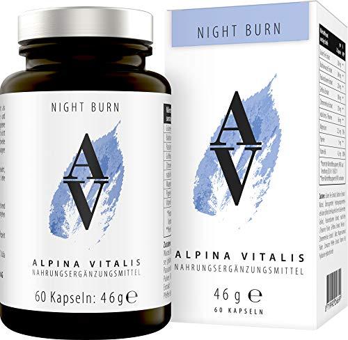 Alpina Vitalis Night Burn Fatburner für die Nacht, natürlich Abnehmen Formel zur Unterstützung der Diät und Nachtphasen, 60 vegane Kapseln