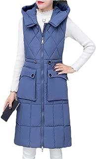 Womens Long Puffer Hooded Down Vest Zipper Thickened Sleeveless Outwear Jacket