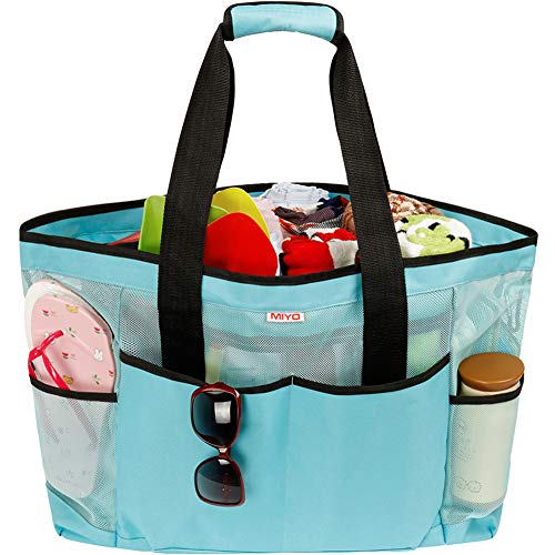 Mesh Beach Bag for Women -Extra Large Beach Tote Bag with 9 Oversized Pockets -Lightweight Market Grocery & Picnic Tote Travel Bag with Top Zipper Blue