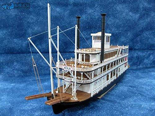 XIUYU Wohnzimmer Dekorationen Wasserfahrzeug Modellbau Kits Modell Fahrzeug Maßstab 1/100 Holzboot Modellbausätze Sternwheel Dampfer Mississippi 1870 Schiffsmodell