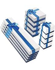 12 Pack Cajas de Regalo Joyeria Cajas para Joyas con Inserto de Terciopelo para Exhibir Anillos Relojes Pequeños Collares Pendientes,3 Tamaños