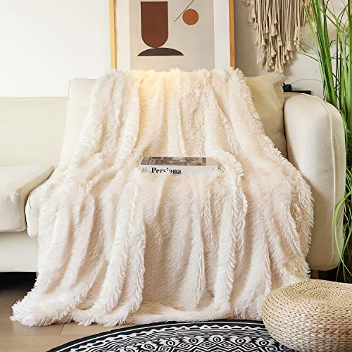 Sale!! Tuddrom Decorative Soft Faux Fur Blanket,Solid Reversible Fuzzy Double Layer Lightweight Long Hair Shaggy Blanket,Fluffy Warm Cozy Plush Fleece Microfiber Fur Blanket for Couch