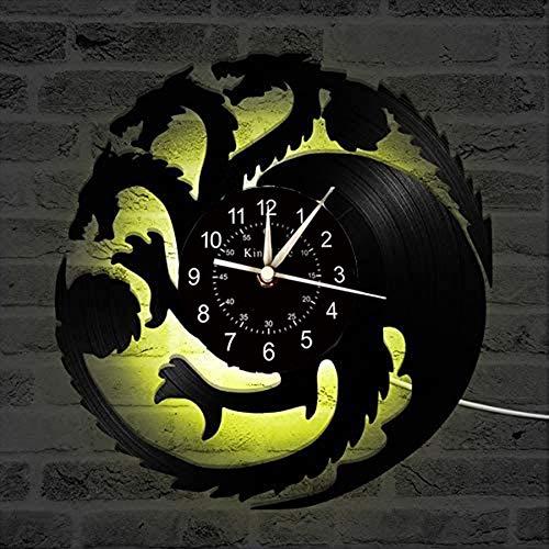 Smotly Vinilo Pared Reloj, Juego de la decoración de la Pared Tronos Tema de Grandes Relojes, Creativo del Color Hecho a Mano luz de la Noche de 7 Colores Decorativos Regalos,A