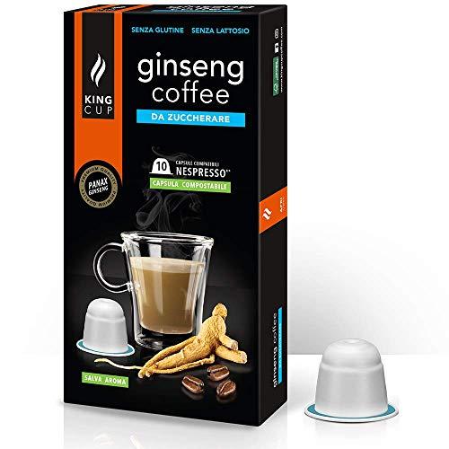 King Cup - 1 Confezione da 10 Capsule di Ginseng da Zuccherare, 10 Capsule 100% Compatibili con Sistema Nespresso di Bevanda al Gusto di Ginseng, Senza Glutine e Senza Lattosio