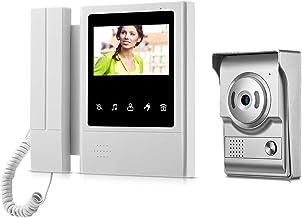 Video Intercome Doorbell, 4.3 Inch Clear LCD Monitor Wired Video Intercom Doorbell Kits, Night Vision Camera Door Bell Int...