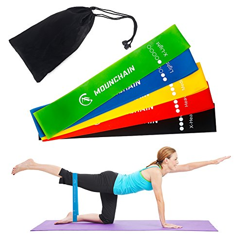 Mounchain Fitnessbänder/Widerstandsbänder Set, 5-Stärken Gymnastikbänder für Yoga, Pilates, Gymnastik, Reha, Physiotherapie, Krafttraining, Crossfit | Trainingsbänder für Männer & Frauen