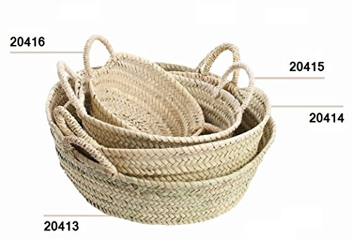 Desconocido Cuevano o cesto de Palma, Natural, con Asas de Pita (Aprox. 27x8 cm)