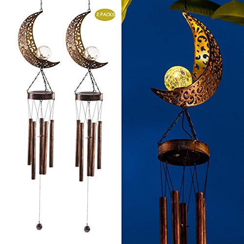 HFWQHTEQ Solar Wind Chimes, 2 Pack Garden Lights Outdoor Hanging Decor Moon Crackle Glass Ball Warm LED Light Sympathy Wind Chime Unique Memorial Gift Outdoor for Garden Patio Thanksgiving Yard Décor