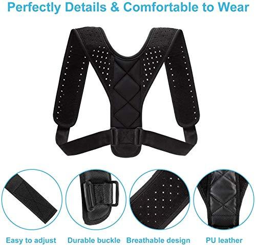 Fitvando BackCorrect, Geradehalter für Rücken und Schulter, Rückengurt, Haltungskorrektur, Rückenstütze für bessere Haltung (schwarz, S-XL)