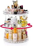 360 Degree Rotating Makeup Organiser, Rotating 360° Crystal Adjustable Jewelry Cosmetic Perfumes Display Stand Box, 360° Rotating:34.5cm (Height) x 25cm (Diameter), For Dresser, Bedroom, Bathroom