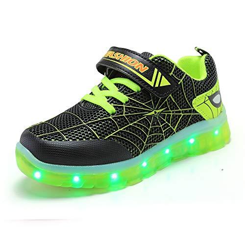 Unisex Bambini Uomo Ragno LED Light-up Scarpe,7 Colori USB Carica Lampeggiante Luminosi Running Sneakers,Light Up Fashion Party Street Dance Sneakers.