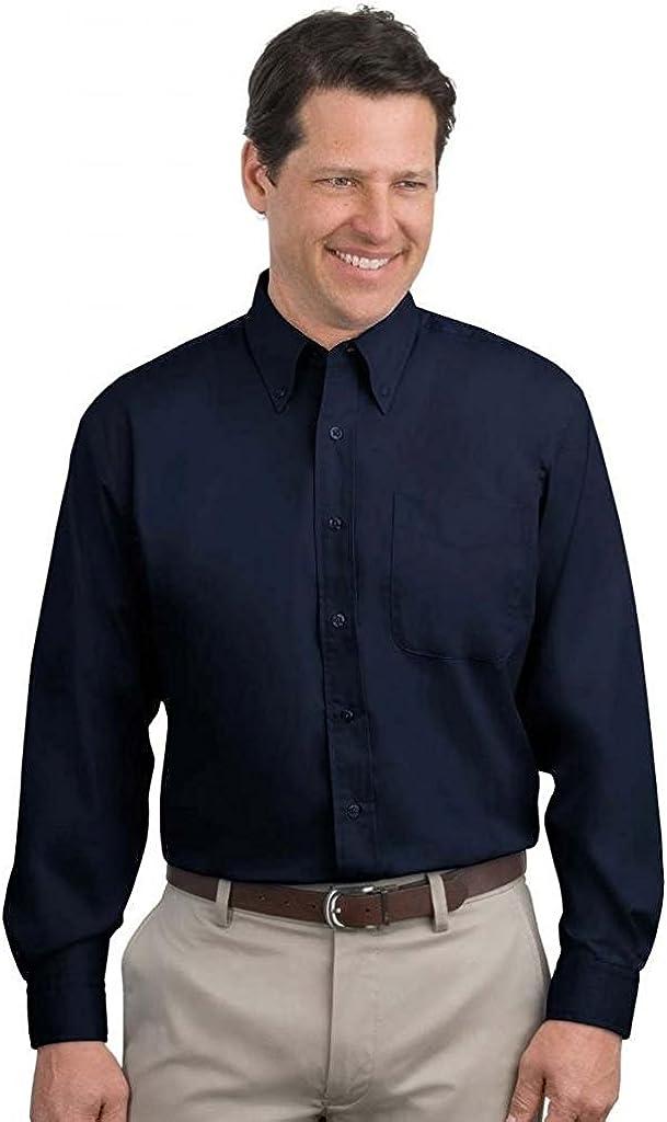 Port Authority - Tall Long Sleeve Easy Care Shirt. >> 3XLT,Navy/Light Stone
